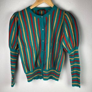 Vintage puff sleeve candy stripe cardigan